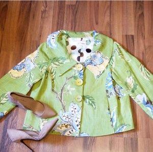 3 Sisters | Green Floral Linen Blazer Jacket